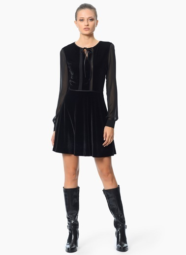 Şifon Detaylı Kloş Elbise-Network